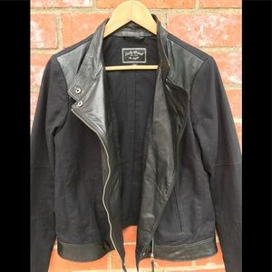 Lucky Brand leather and canvas moto style jacket